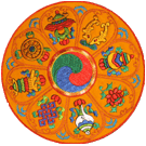 Round Mat Embroidered with 8 Auspicious Symbols
