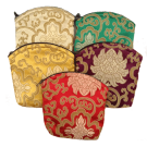 Lotus Pattern Mala Bag With Zipper