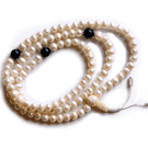 Pearl Mala 108 beads W. Lapis Dividers