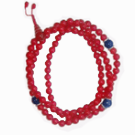 Coral Mala 108 Beads with Lapis Divider