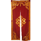 Maroon Door Curtain With Gold Trim