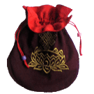 Maroon Mala Bag With Gold Om Embroidery Both Side