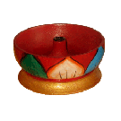 Wooden Small Bowl Lotus Painted Incense Burner